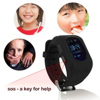 Top Gsm Tracker Baratos-Venta al por mayor de alta calidad NUEVO Q50 reloj inteligente teléfono niños OLED Q50 GSM GPRS Localizador Tracker Anti-Lost Kids Watch para iOS Android