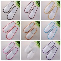Wholesale Towel Slippers Wholesale - Mix Color Disposable Indoor EVA Slippers Towelling Hotel Disposable Slippers Terry Spa Guest Shoes 2pcs pair CCA7110 1000pairs