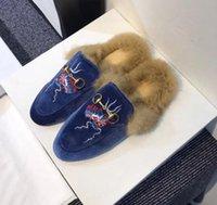 Wholesale Velvet Slippers Women Blue - 2017 fall winter womens blue black velvet fashion luxury Snake Detail gold buckle strap Rubber fur lined flat Mules Loafers slippers