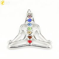 Wholesale Health Boys - CSJA Yoga Charms Seven Rainbow Rhinestone Pave 7 Chakra Energy Jewelry Pendant Reiki Health Amulet for Girl Boy Women Men Charm Gifts E014