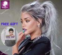 Wholesale Grey Lace Front Wigs - virgin Brazilian glueless ombre grey lace front wig two tone grey hair full lace wigs ombre full lace human hair wigs
