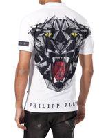 Wholesale European Blue Rhinestones - 2017 New Fashion European Top Brand Mens Short PoloShirt Fit Slim Desinger Print 3D Rhinestone Skulls Casual l Mens T-Shirts P18358-60