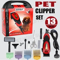 Barato Conjuntos De Lâminas Clipper Pet-13PC Pro Elétrica Dog Pet Clipper Kit Lâmina Pente Set Gato Animal Hair Grooming Trimmer QiRui