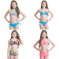 Wholesale Swim Suit Girls Stripes - Girls Two-piece Bikini Swimwear Swimming Suit Multi Color Stripe Hand-woven Super Elastic Nylon Lace-up Breathable Soft