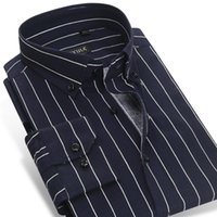 Wholesale Navy Striped Long Sleeve Dress - Wholesale- CAIZIYIJIA 2017 Men's Contrast Navy Blue white Striped Dress Shirts Cotton Business Slim-fit Long Sleeve Button-down Shirt