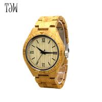 Wholesale men watches eco - TJW 2018 eco - original eco - ebony watch men 's business casual leather belt fashion sports style wood watch