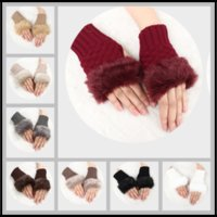 Wholesale Golf Gloves Red - Winter Trendy 10 Colors Fingerless Gloves Artificial Rabbit Fur Hand Glove Knitted Half-fingers Mittens for Ladies Women Girls
