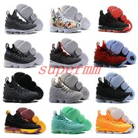 Wholesale Shoes Pink Flowers - 2017 New Arrival with Zipper James 15 Basketball Shoes for High Quality LBJ 15s Wolf Grey Flowers Airs Cushion Sports Sneakers Size 7-12