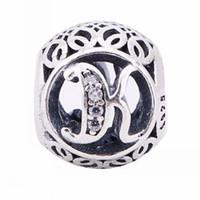armband, das briefe macht großhandel-Vintage K Charms Perlen 925-Sterling-Silber Pflastern Clear Crystal Alphabet Buchstaben K Perlen Für Europäische Schmuckherstellung Diy Marke Armbänder