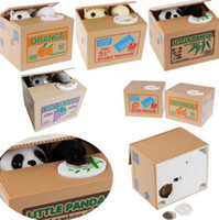 lustige sparbüchsen großhandel-Katze Panda Geld von Ihnen zu stehlen Mechanische Münze Sparschwein Unfug Spardose Sparschwein lustiges Geschenk für Kinder KKA3080