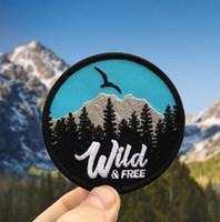 Wholesale Wild Birds - WILD&FREE PATCH MOUTAIN FOREST BIRD ADVENTURE EMBROIDERIED PATCH IRON ON CLOTHING SMALL CUTE DECORATION BADGE APPLIQUE EMBROIDERY EMBLEM FRE