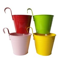 Wholesale Wholesale Metal Hanging Baskets - Free Shipping Big Size D14.5*H17.5CM mixed color pure garden bucket tin box Iron pots flower metal Hanging Planter
