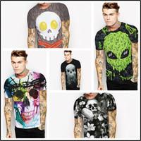Wholesale Long Sleeve Skeleton Shirt - 2017 Fashion Summer Men 3D Skeleton Cranial Skull Print T-shirt Street Wear Tee Plus Size Short Sleeves O-neck Tops