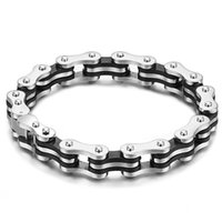 Wholesale Bicycle Chain Links - Novelty Bike Bicycle Chain Bracelet 316L Titanium Steel Link Bracelets Leather Hand Chain for Male Wedding Prom Christmas Gift