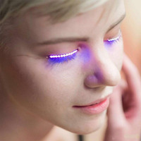 Wholesale Nightclub Led - F.Lashes Interactive LED Eyelashes Fashion Glowing Eyelashes Waterproof for Dance Concert Christmas Halloween Nightclub Party