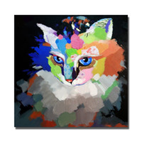 Wholesale Cat Hand Oil Painting - Hand painted free shipping canvas cat oil painting animal wall pictures 1 Piece Canvas Wall Art