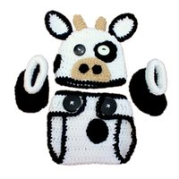 Wholesale Crochet Cow - Newborn Knit Cow Costume,Handmade Crochet Baby Boy Girl Cow Animal Hat Diaper Cover Booties Set,Infant Toddler Halloween Costume Photo Props