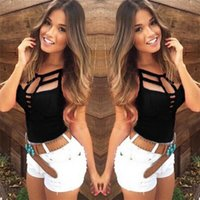 2017 Womens Spaghetti Strap Sommer Plus Size Weste Top Casual Bodycon Ärmellos Tank Tops Hollow Out V Neck Sexy Camis