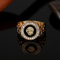 Wholesale Men Diamond Ring Designs - Brand Design full Diamond Medusa rings for men top quality gold plated hip hop jewelry wholesale free shipping