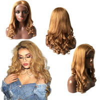 Wholesale Blond Wavy Wigs - Wave Glueless Honey Blond 27 Lace Front wavy Human Hair Wigs Brazilian Honey Blonde Full Lace Human Hair Wigs For Black Women