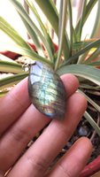 Wholesale Natural Gemstone Carved Pendants - 1 Pcs Awesome Flash Hand Carved Natural Labradorite Gemstone Jewllery Pendant DIY Accessory for Necklace as Gifts Drop Shipping