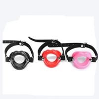 Wholesale Wholesale Bondage O Rings - New Sex Toys for Women Fetish Leather Rubber Lips O Ring Open Mouth Gag Bondage Restraints BDSM Sex Erotic Toy