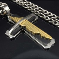 Vintage Bold Large Layered Statement Cross Pendant Necklace Para Homens Stainless Steel figaro Chain three Tone
