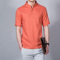 Wholesale Wholesale Mens Casual Wear - 5pcs 2017 Summer Style Mens Linen Shirt Comfort Breathe Freely Chinese Style Casual Wear Male Popover Shirt Size M L XL XXL XXXL ZL3148