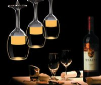 Wholesale led modern wine glass lighting - New led Wine Glass pendant lamps high power 15W White Warm light pendant led lamps led lustre light pendant lights LLFA