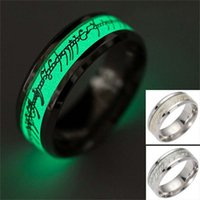 Wholesale Dark Lord - Lord of the Ring Fluorescent Glowing Rings Stainless steel LOTR Gold Silver letter Glow In The Dark Finger Rings for women men 080246