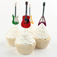 Wholesale bamboo birthday cake - Wholesale- Electronic guitars cupcake toppers party kids baby bridal shower birthday musical wedding cake topper decor
