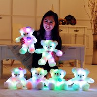 Wholesale Cute Teddy Bears Gifts - LED Night Light Luminous Teddy Bear Cute Shining Bear Plush Toys Baby Toys Birthday Gifts Valentines