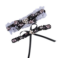 Wholesale Sexy Garter Sets Cheap - 2 Pieces set Sexy Real Picture Pearls Printed Bridal Garters for Bride Lace Wedding Garters Handmade Cheap Wedding Leg Garters Black