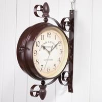 Wholesale Garden Clocks - Iron art and home garden decoration, clocks, double wall clock, classical European style, garden outdoor decoration.