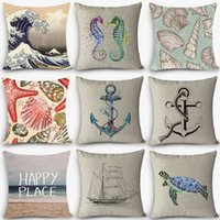 Vente en gros - New Arrival oreiller Sea sailing Patterns Home Coussin décoratif Throw Oreiller 18