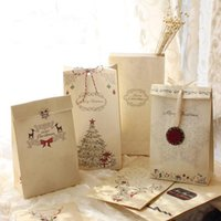 Wholesale Merry Christmas Baking - Wholesale-6pcs lot Merry Christmas Kraft Paper Bag Bake Biscuits Cookies Candy Gift Bags Party Lolly Favour Wedding Packaging 22x12x6cm