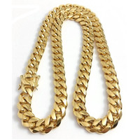 "Wholesale gold plate chains - Stainless Steel Jewelry 18K Gold Plated High Polished Miami Cuban Link Necklace Men Punk 14mm Wide Curb Chain Dragon-Beard Clasp 24"" 28"" 30"""