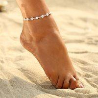 Wholesale Girls Vintage Boots - 2 Pieces Anklets Vintage Fashion Crystal Anklets Link Chain Bohemian Gold Silver Color Shoe Boot Chain Beach Anklet Foot Jewelry 2017