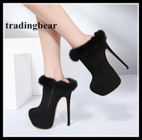 Wholesale sexy bootie high heel boots - 16cm Women Winter Shoes Luxury Fur Boots Sexy Lady Platform High Heels Ankle Bootie Size 34 to 40