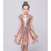Новые Baby KIds Girls Dresses Cap Sleeve Sequins Princess Wedding Party Dress 3 Цвет 5 Размер