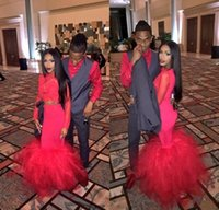 Wholesale two piece fake dresses - African Two Pieces Red Lace Mermaid Prom Dresses 2017 Long Sleeve Floor Length Fake Evening Gowns Formal Dress