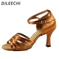 Wholesale Top Quality Latin Dance Shoes - TOP Sneakers DILEECHI adult female Latin dance shoes high quality satin square dance shoes ballroom dancing shoes