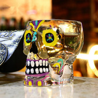 Wholesale shot skull - Painted Colorful Magic Skull Shot Glass 70ML Skeleton Whisky Cup Glass Bilayer Bar Wine Beer Drinkware Gift Tea Cup OOA3064