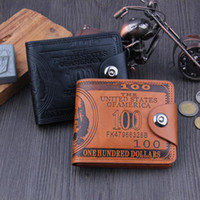 Wholesale Magnet Photo - Trendy US Dollar Price Pattern Short Style PU Leather Wallets Credit Card Magnet Holder Hasp for Men