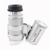Wholesale Jeweler Magnify Glasses - Microscope 45X Jeweler Magnifier Jewelry Loupes Mini Magnifiers Pocket Microscopes with LED Light + Leather Pouch Magnifying Glass MG10081-4