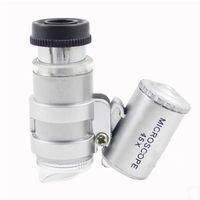microscopio usb 5mp al por mayor-Microscopio 45X Joyero Lupa Joyas Lupas Mini lupas Microscopios de bolsillo con luz LED + Funda de cuero Lupa MG10081-4