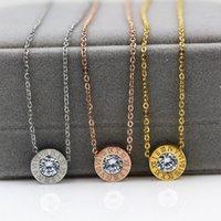 Wholesale Diamond Jewelery - New Arrival Top Quality 316L Titanium steel Women Elegant Necklace Design Pendant with Diamond brand jewelery for women and girls PS4024