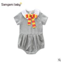 Wholesale Tie Outfits - Baby Romper 2017 Summer Short Sleeve Gray Baby Onesies Body Suit Tie Girl Rompers Toddler Outfit Infant Outwear Bodysuit Baby Clothes 94