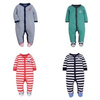 Wholesale Baby Koalas - Baby Boys Jumpsuit Footies Rompers Onesies Long Sleeve Newborn 0-1 Y Infant Spring Autumn Striped Little All Star Koala