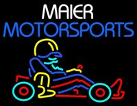 Maier Motorspots Go Kart Neon Sign Handmade Custom Commercial Real Glass Tube Спортивный бар Game Racing Art Club Display Неоновые вывески 24